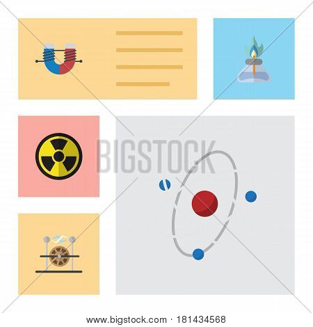 Flat Science Set Of Orbit, Electrical Engine, Irradiation And Other Vector Objects. Also Includes Radiation, Atom, Nuclear Elements.