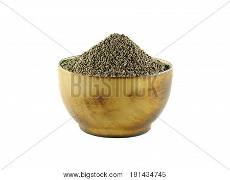 Perilla frutescens or sesame in wood bowl on white background.