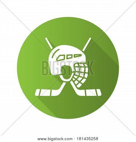 Hockey game equipment. Flat design long shadow icon. Hockey sticks and helmet. Vector silhouette symbol
