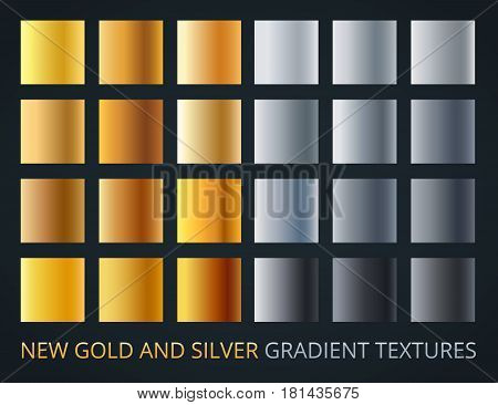 Set of silver and gold gradients on dark background, 24 different colour style, metallic effect. Luxury, vip metal vector banners.
