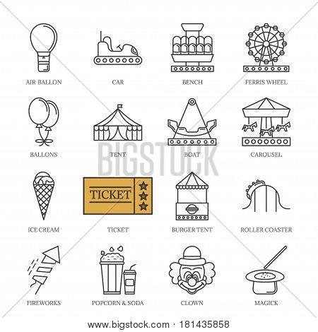 Vector black line amusement park icons set. isolated on white background