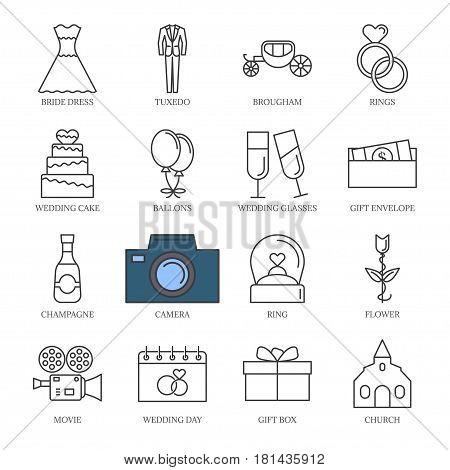 Vector black line wedding icons set. isolated on white background