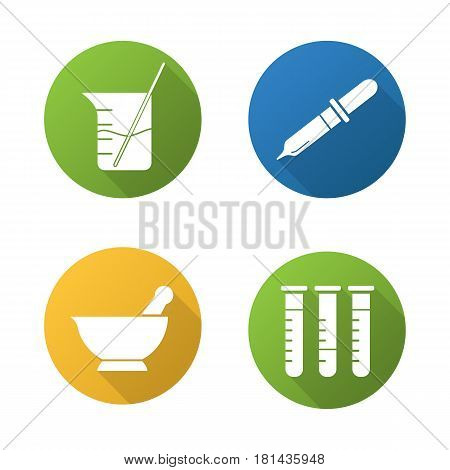 Chemical laboratory flat design long shadow icons set. Lab tools. Test tubes, beaker with rod and liquid, mortar and pestle, pipette. Vector silhouette illustration