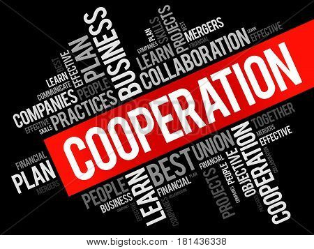 Cooperation word cloud collage business concept background