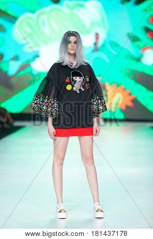 ZAGREB, CROATIA - APRIL 1, 2017: Fashion model wearing clothes BiteMyStyle by Zoran Aragovic from the spring/summer collection at the 'Fashion.hr' fashion show