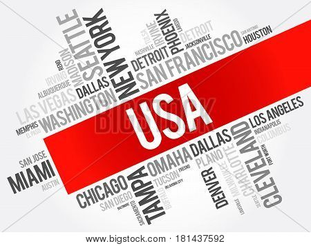 Usa Cities Names Words Cloud Collage
