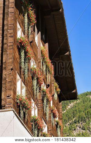 Chalet And Flowers On Balconies In Zermatt Resort Town Switzerland