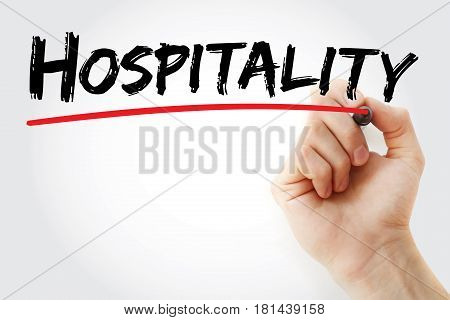 Hand Writing Hospitality With Marker