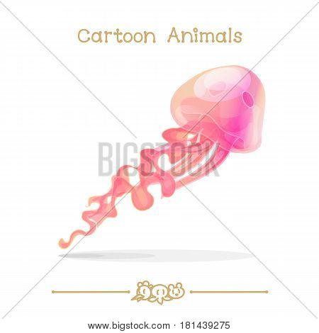 Toons series cartoon animals: Abstract sea pink jellyfish medusa