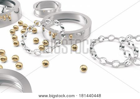 Silver and gold balls bearings on a white background. 3d rendering