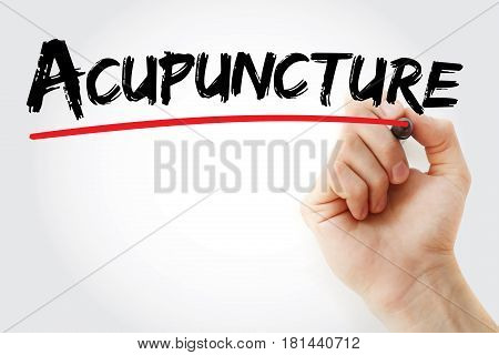 Hand writing Acupuncture with marker concept background poster