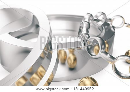 Machining ball bearings on a white background, 3d rendering