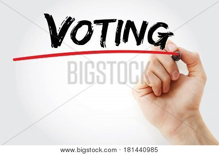 Hand Writing Voting With Marker