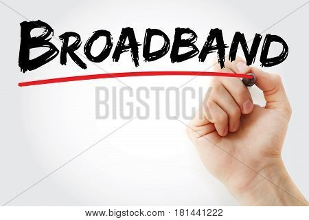 Hand Writing Broadband With Marker