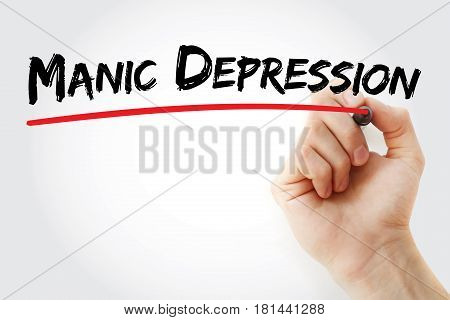 Hand Writing Manic Depression With Marker