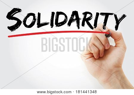 Hand Writing Solidarity With Marker