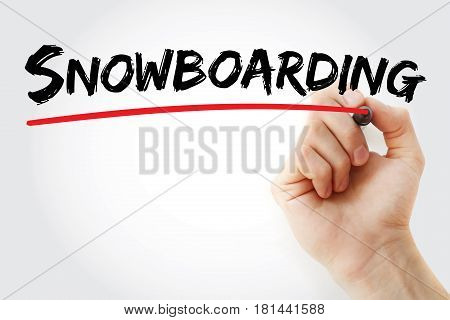 Hand Writing Snowboarding With Marker
