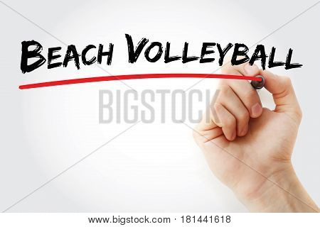 Hand Writing Beach Volleyball With Marker