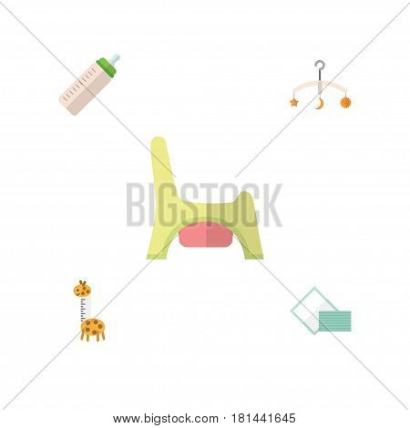 Flat Baby Set Of Toilet, Feeder, Napkin And Other Vector Objects. Also Includes Crib, Bottle, Tissue Elements.