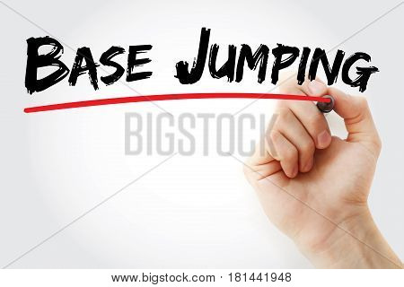 Hand Writing Base Jumping With Marker