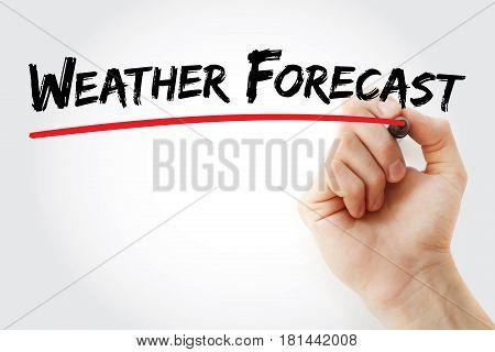 Hand Writing Weather Forecast With Marker