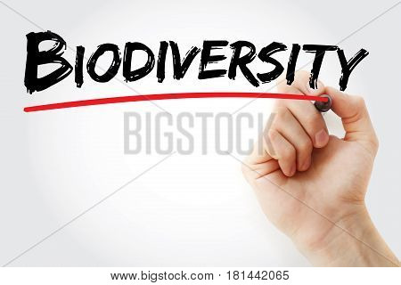 Hand Writing Biodiversity With Marker
