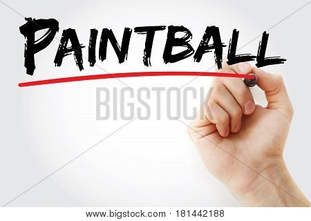 Hand writing Paintball with marker sport concept background