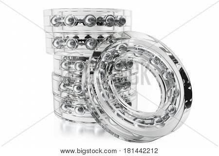 Glass bearings on a white background from different point of view. 3d rendering