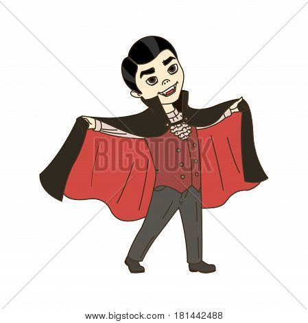 Cute Halloween cartoon vampire on white background vector little kid character child dressed in masquerade costume showing its fangs flat vector isolated llustration