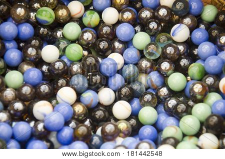 Colored Marbles Or Colorful Crystal Ball Background For Ritual Merit Of Thailand