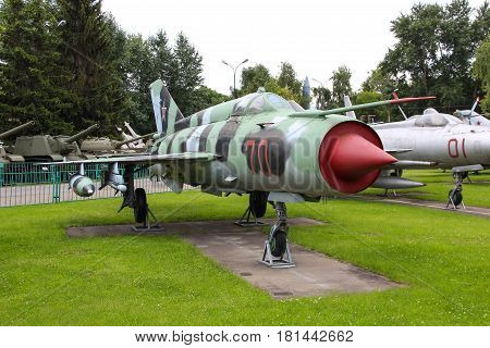 MOSCOW, RUSSIA - Jul 19 2015, Soviet historical MiG-21 at the Central Museum of Armed forces, on Jul 19 2015 in MOSCOW, RUSSIA