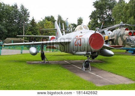 MOSCOW, RUSSIA - Jul 19 2015, Soviet historical MiG-15 at the Central Museum of Armed forces, on Jul 19 2015 in MOSCOW, RUSSIA