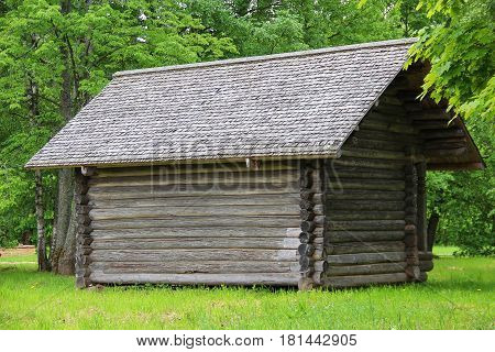 The ancient wooden house (the barn/shed) in village