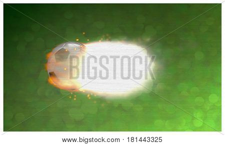 3d illustration of a soccer ball in flames