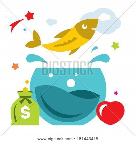 Fish jumping out fishbowl. Isolated on a white background