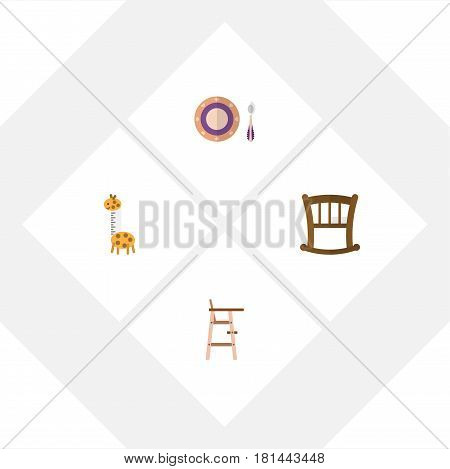 Flat Baby Set Of Infant Cot, Toy, Baby Plate And Other Vector Objects. Also Includes Giraffe, Dish, Toy Elements.