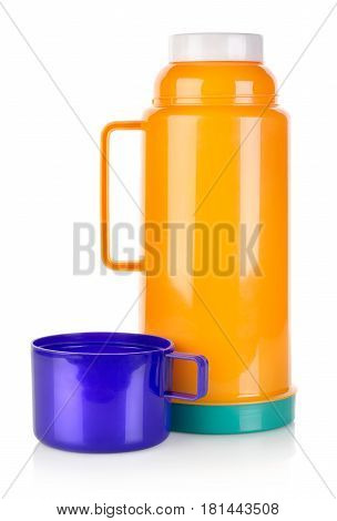 Plastic thermos isolated on a white background