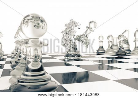Chess games, victory, success in competition, leadership in business, transparent pawns on a white background. 3d rendering