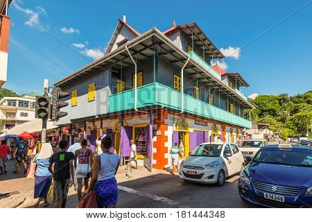 Victoria Mahe Seychelles - December 16 2015: Street scene in Victoria. Victoria is smallest African capital was built on the island Mahe Seychelles Indian Ocean East Africa.