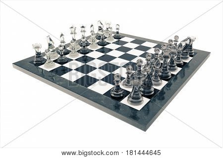 Chess set, victory, transparent glass figures, on a chessboard. 3d rendering