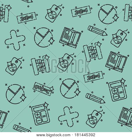 Algebra concept icons pattern. Mathematical science. Education and scientific icons set.