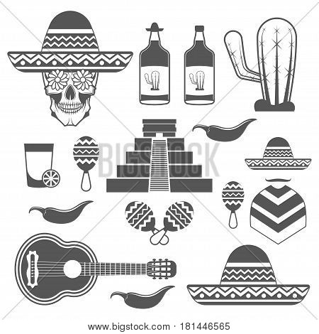 Set of vintage Mexico icons, design elements in monochrome style isolated on white background. black