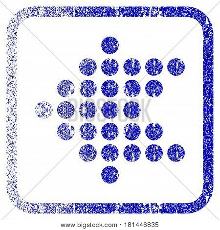 Dotted Arrow Left textured icon for overlay watermark stamps. Blue vectorized texture. Flat vector symbol with dirty design inside rounded square frame. Framed blue rubber seal stamp imitation.