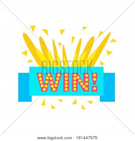 Win Congratulations Sticker With Blue Ribbon Design Template For Video Game Winning Finale. Graphic Flat Vector Message With Text Saying Win Congrats And Victory Symbols