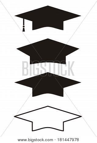 Graduation Gown Cap. Set of vector illustration. Black on white color outline