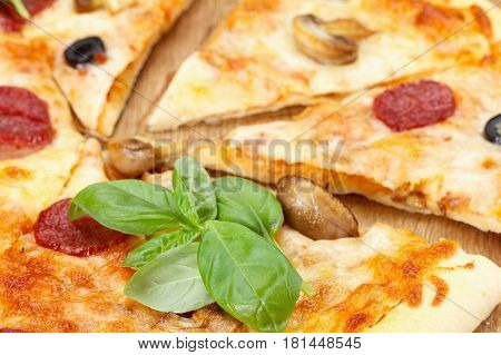 Hot pizza slice with melting cheese mushrooms salami and crumbs on a rustic wooden table close-up.