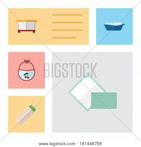 Flat Infant Set Of Pinafore, Napkin, Bathtub And Other Vector Objects. Also Includes Playground, Tissue, Children Elements.