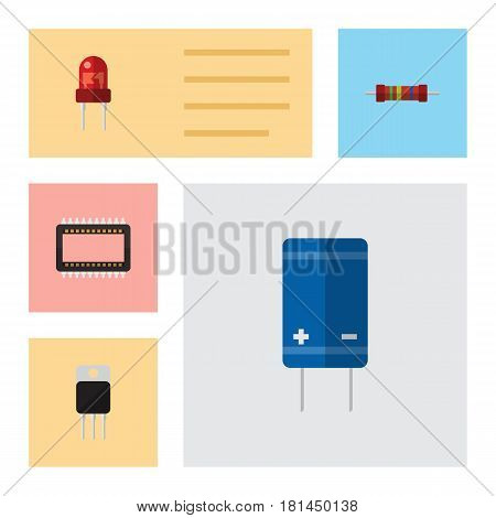 Flat Technology Set Of Recipient, Resistance, Transistor And Other Vector Objects. Also Includes Resistance, Electronics, Mainframe Elements.
