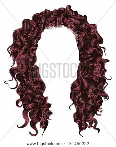 long curly hairs pink Copper colors . beauty fashion style . wig .
