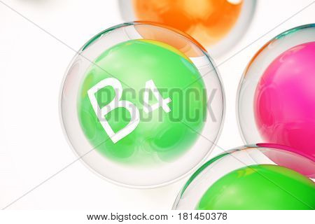 Vitamin B4, group of organic substances, food additive, isolated, on white background. 3d rendering